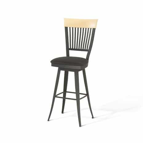 This countryside counter height Amisco Stool has a distressed solid wood seat and metal backrest
